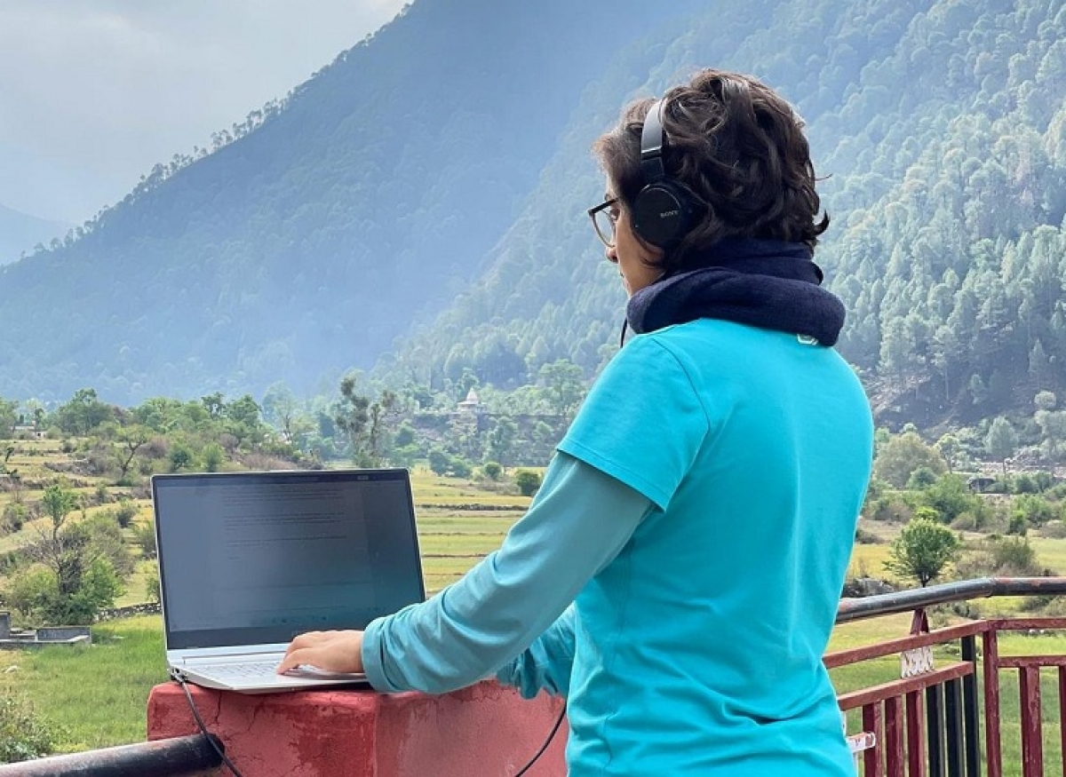 Shivya Nath recently posted this image of hers from her 'outdoor standing office and home' in Uttarakhand