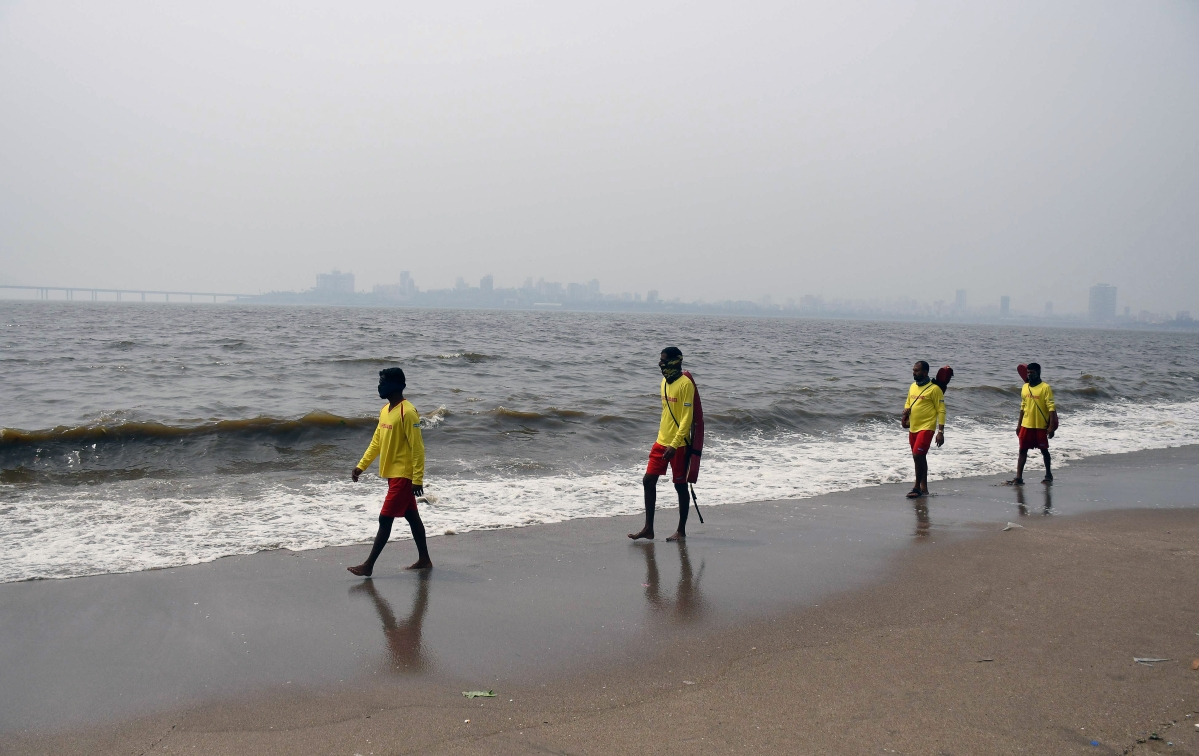 Maharashtra, May 15 (ANI): Lifeguards personnel patrolling at Dadar Chowpatty due to the formation of Cyclone Tauktae in the Arabian Sea, in Mumbai on Saturday.