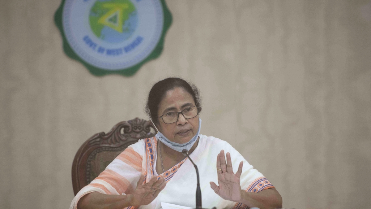 West Bengal, May 27 (ANI): West Bengal Chief Minister Mamata Banerjee addresses a press conference over cyclone Yaas at Nabanna, in Kolkata on Thursday.