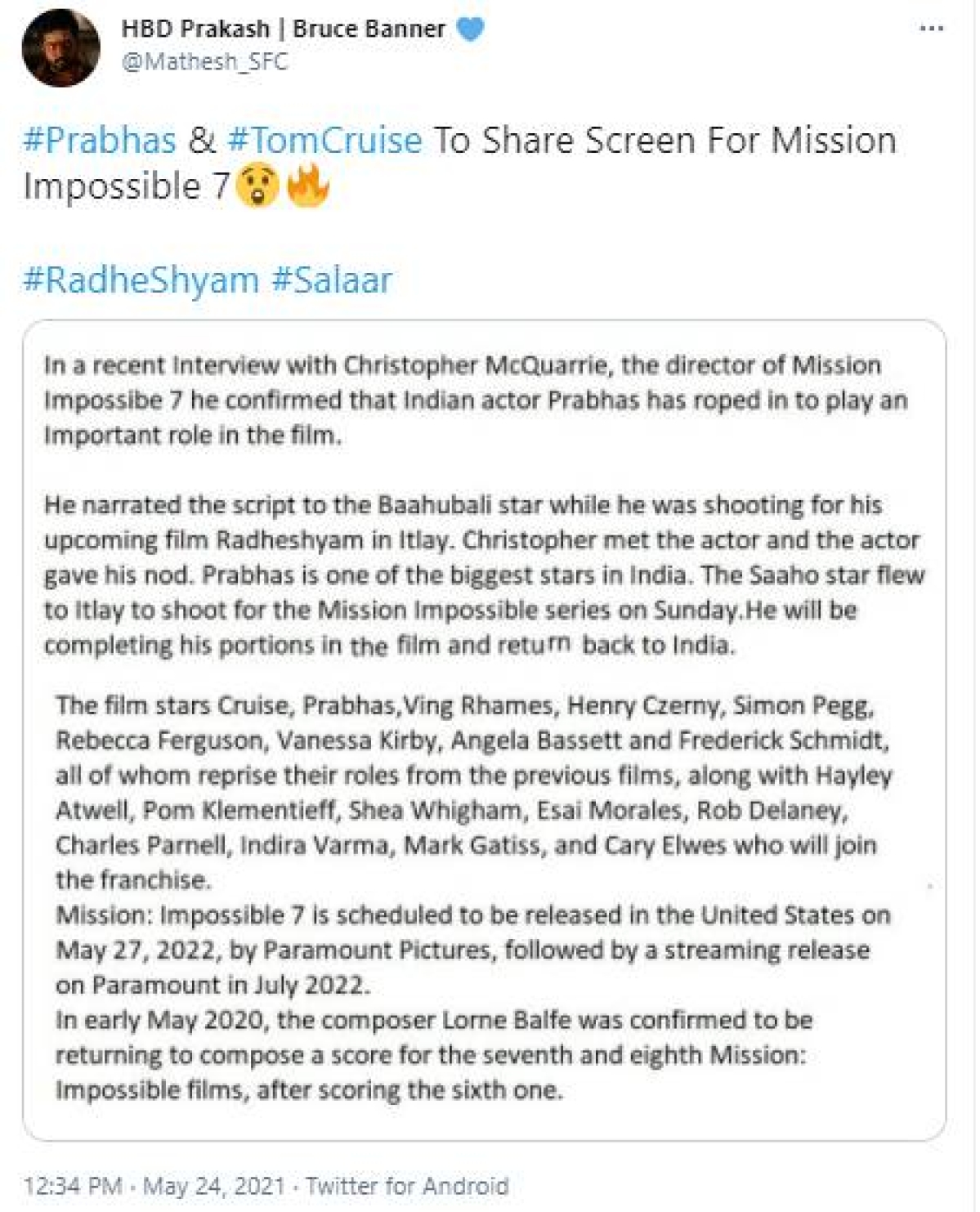 Prabhas to play an 'important role' in Tom Cruise's 'Mission Impossible 7'?