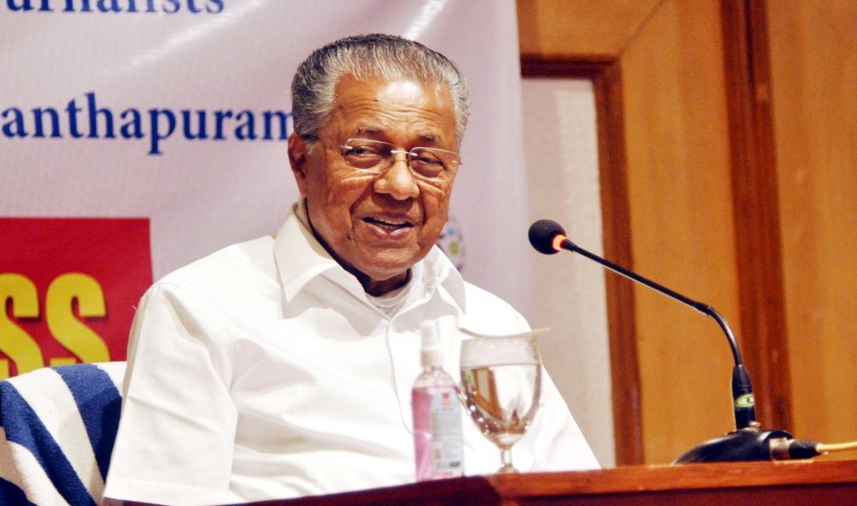 Kerala, May 03 (ANI): Kerala Chief Minister Pinarayi Vijayan addresses a press conference organized by KUWJ in Thiruvananthapuram on Monday.