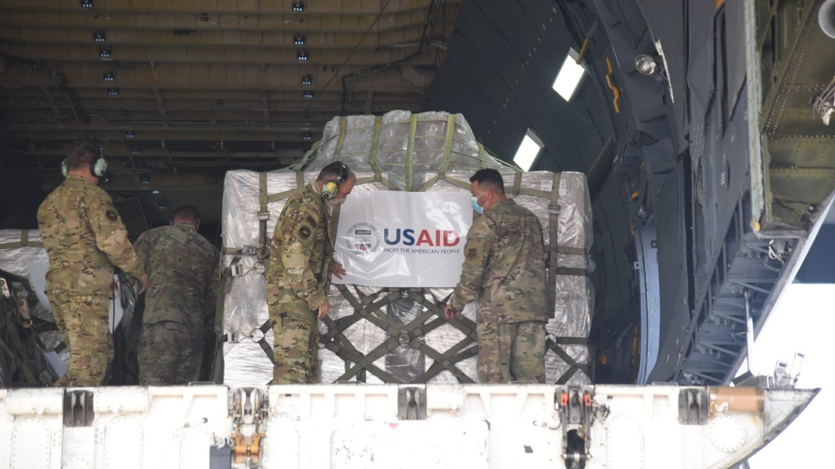 Fifth consignment carrying medical equipment (including 545 oxygen concentrators) from US arrives in India on Tuesday morning.
