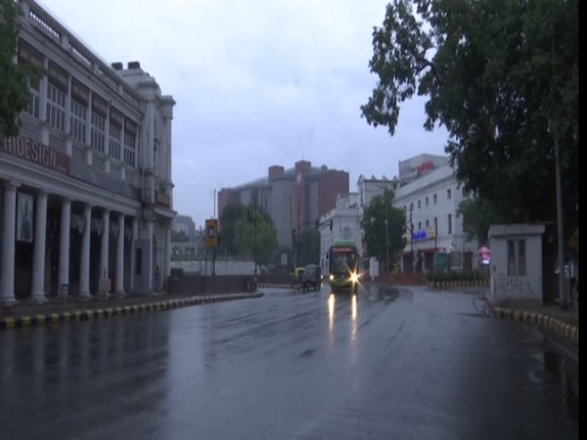 Visuals of rain from Connaught Place area in Delhi.