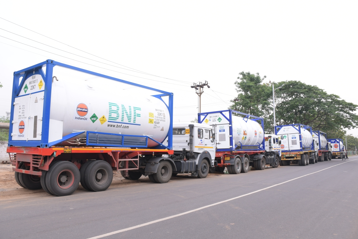 Liquid Medical O2 from Singapore sourced by IndianOil unloaded in Vizag Port