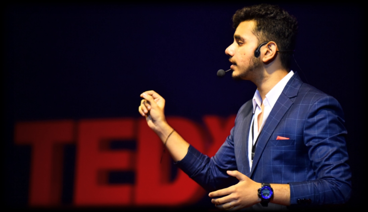In Picture: Yash Tiwari delivering a TED Talk.
