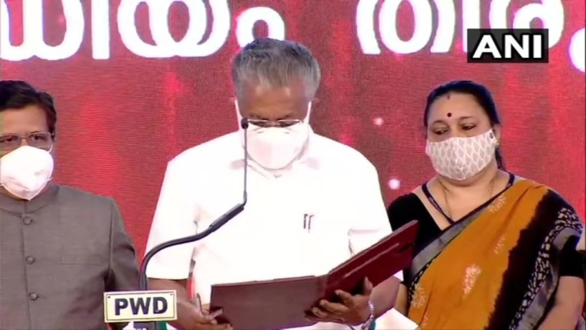 CM Kerala Pinarayi Vijayan taking oath
