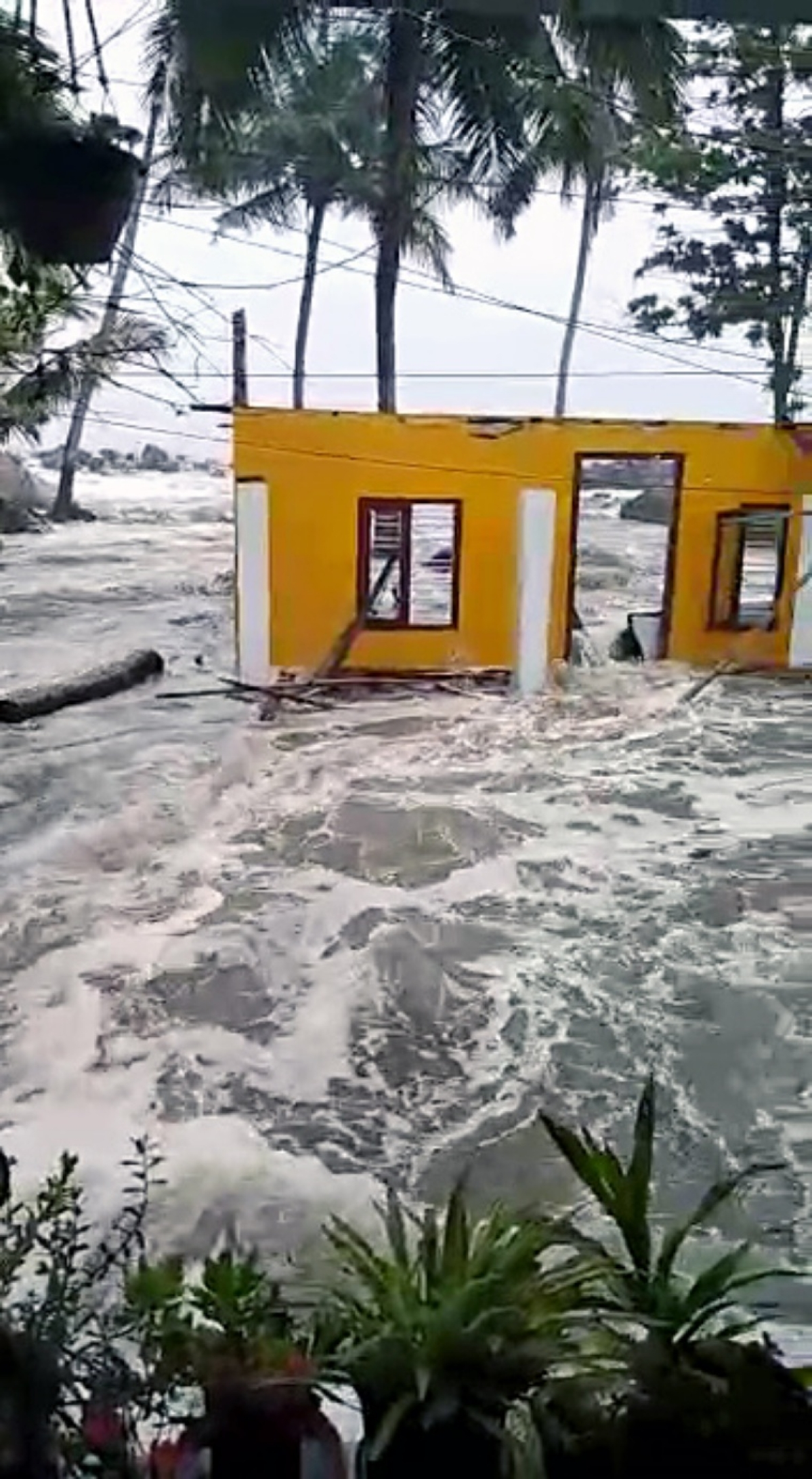 House getting sweeped away in the wayer logged due to heavy rains