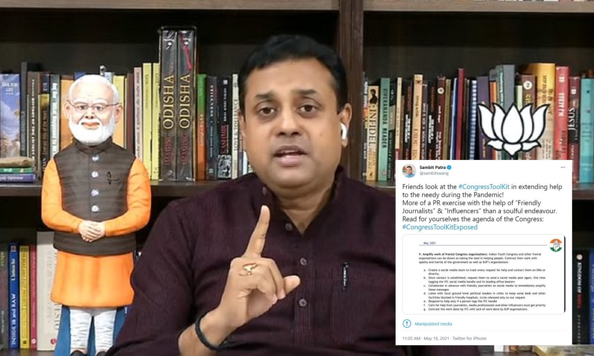 Amid 'Congress toolkit' row, Twitter flags BJP spokesperson Sambit Patra's post as being 'manipulated media'