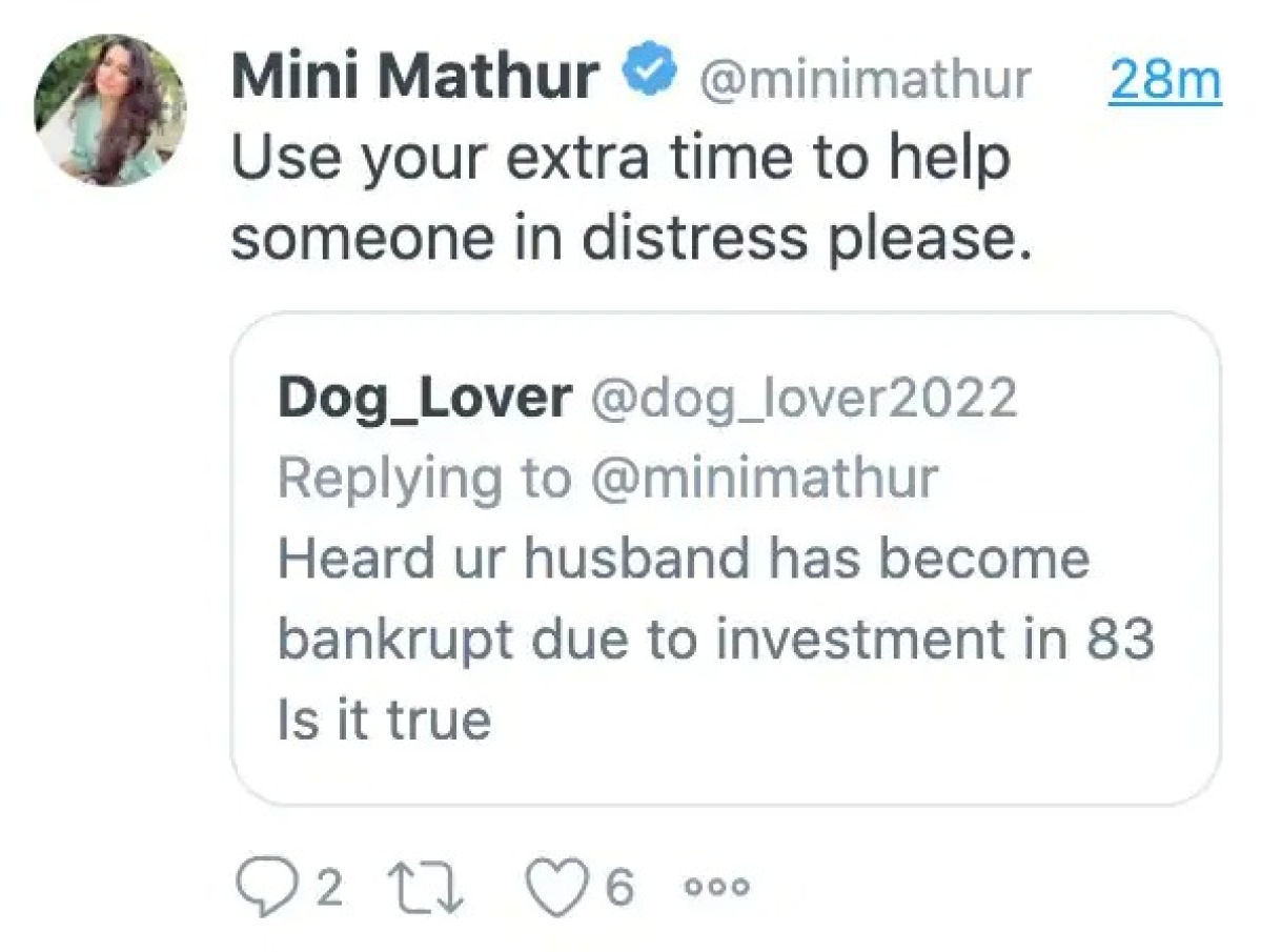 Check out Mini Mathur's classy reply to troll who asked if husband Kabir Khan is bankrupt after investing in '83'