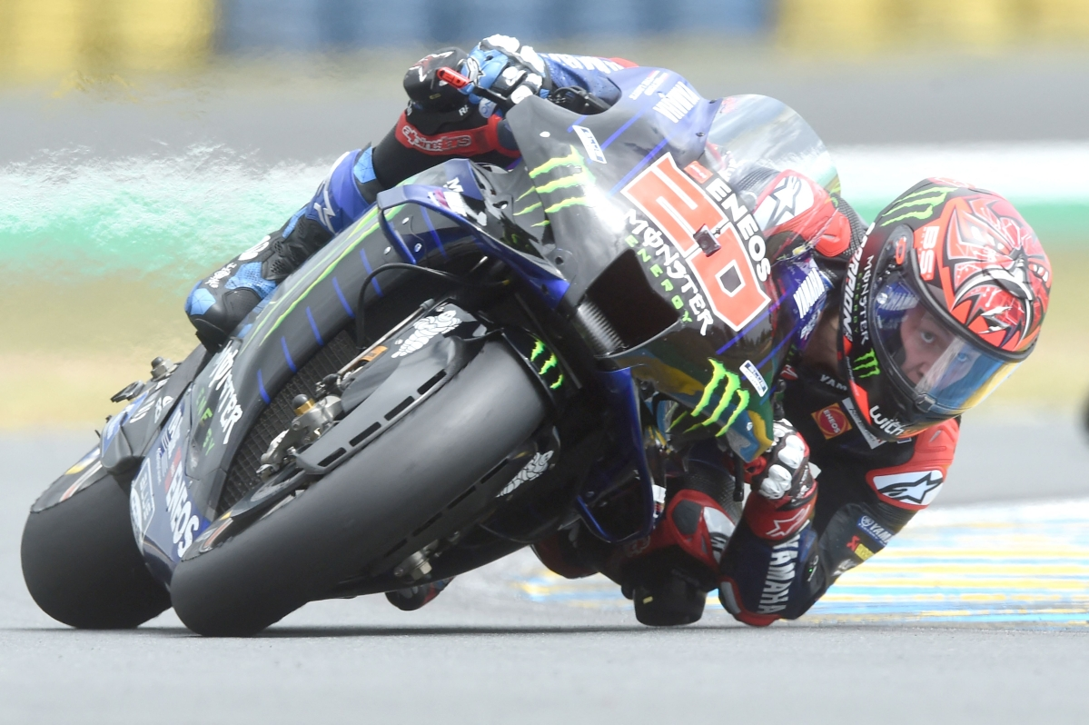 Monster Energy Yamaha MotoGP French rider Fabio Quartararo steers his motorbike and clocked the pole position of the Q2 qualifying session in 1'32.600, ahead of the French Moto GP Grand Prix in Le Mans, northwestern France, on Sunday