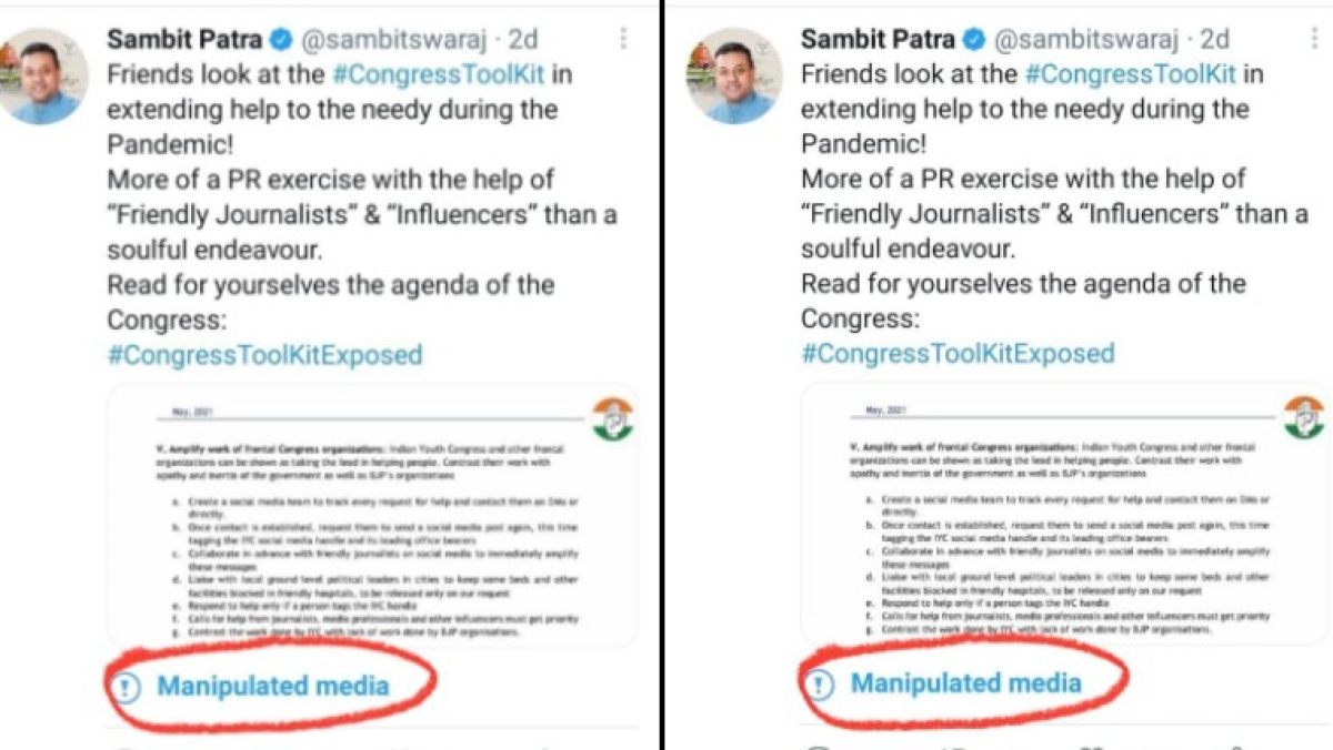 Centre asks Twitter to remove 'manipulated media' tag for 'Congress toolkit' tweets: Report
