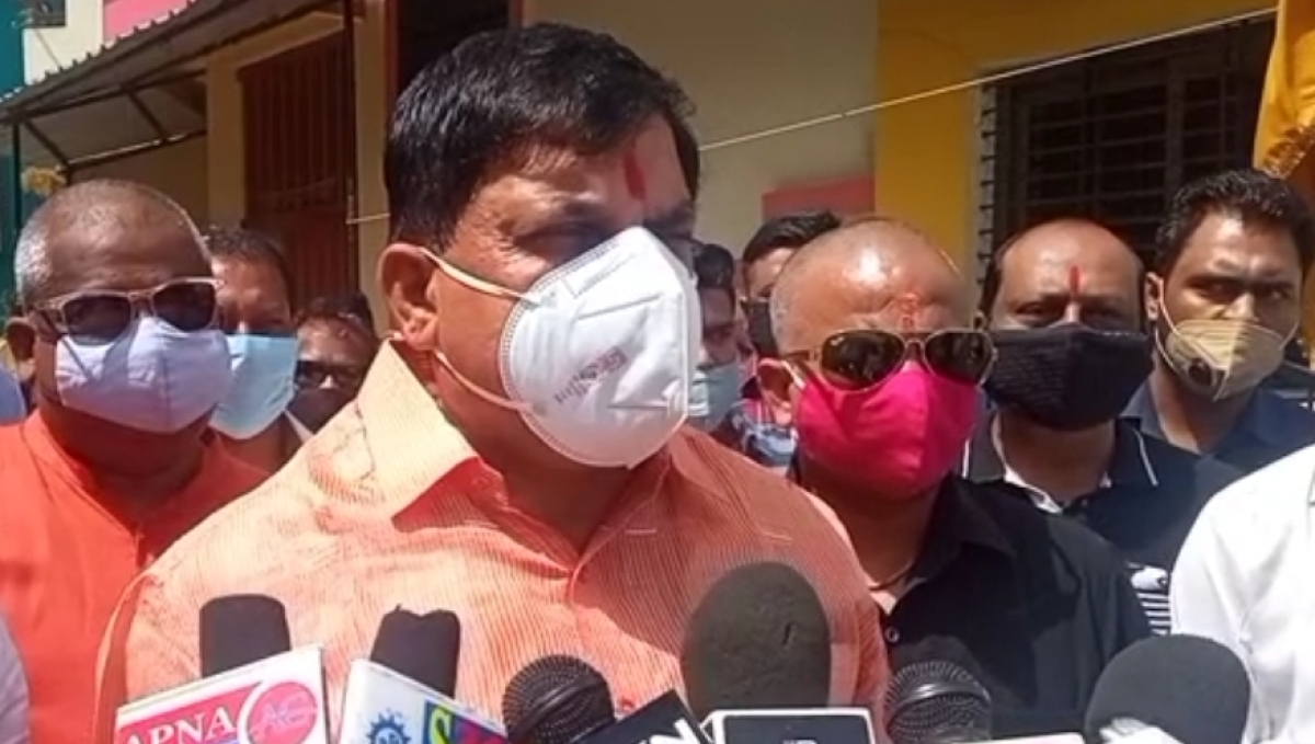 Cabinet Minister Mohan Yadav interacts with media persons in Ujjain on Thursday.