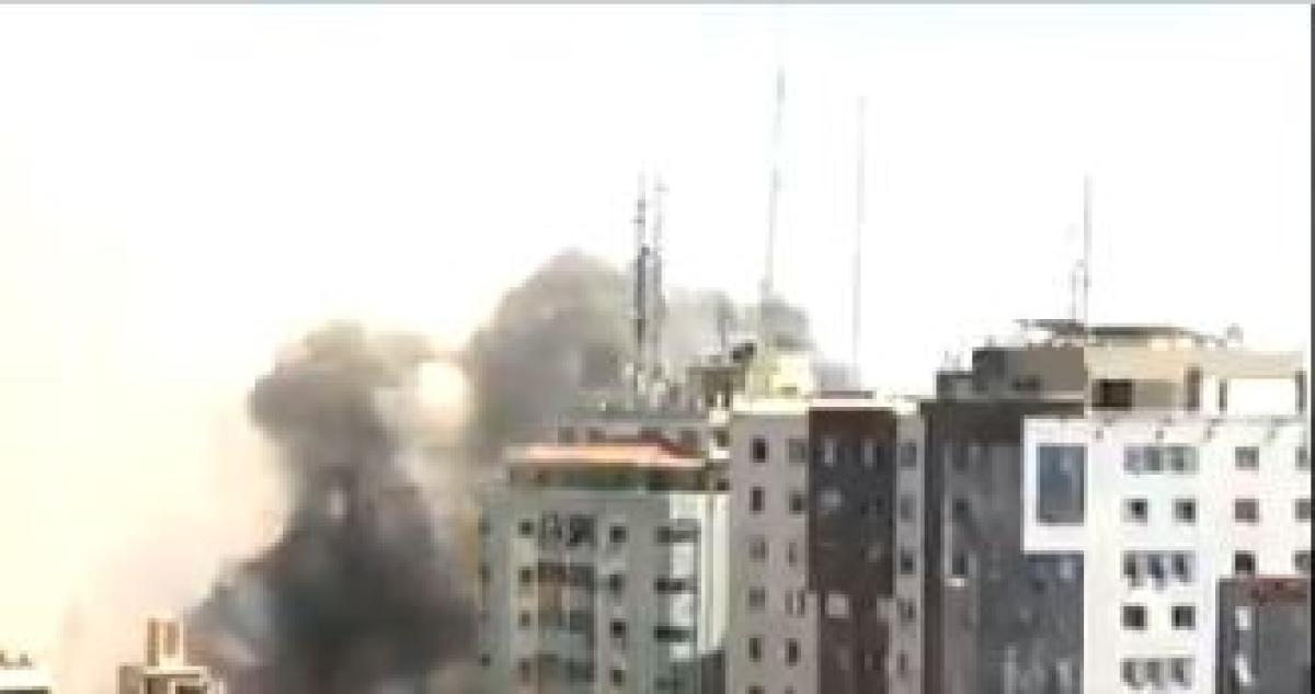 Watch breaking footage: Israel strikes tower housing offices of Al Jazeera, AP & AFP