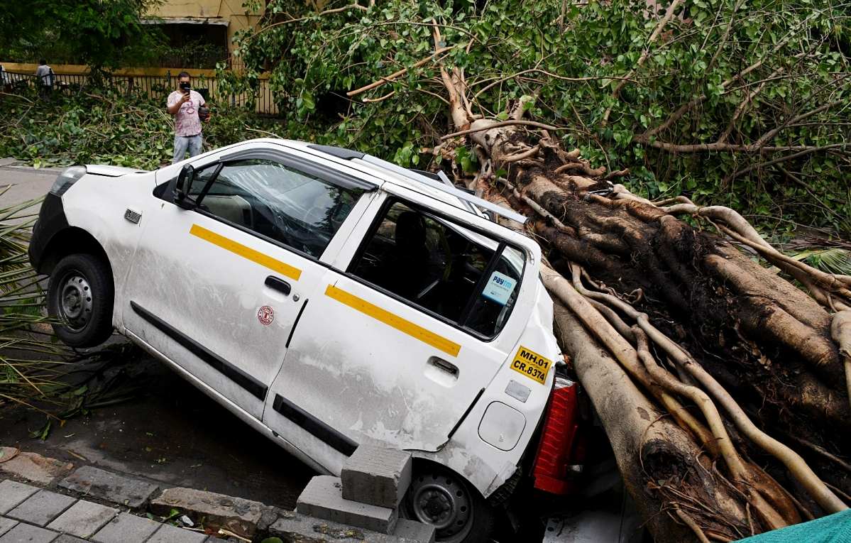 A car damaged by an uprooted tree aftermath of Cyclone Tauktae, in Mumbai on Tuesday.