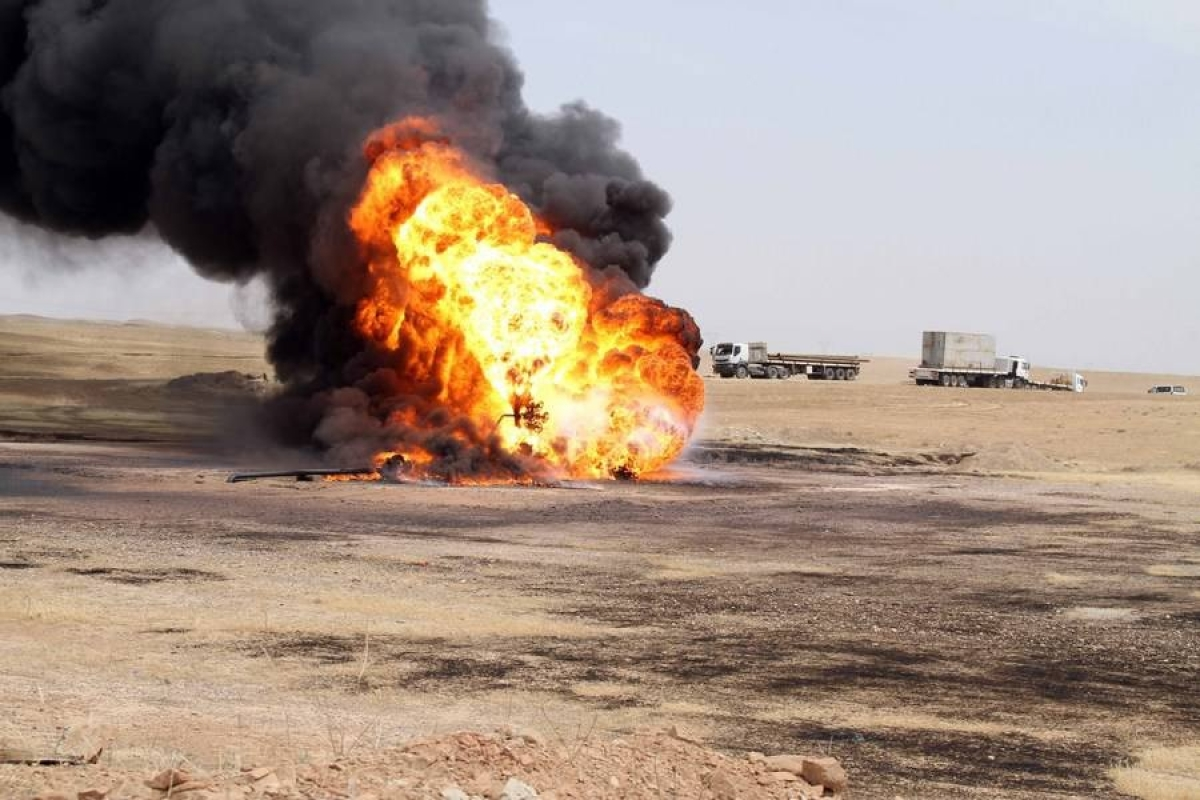 An oil well in the Bai Hassan oil field was set ablaze after IS militants blew it up in Kirkuk, which is 200kms from Baghdad