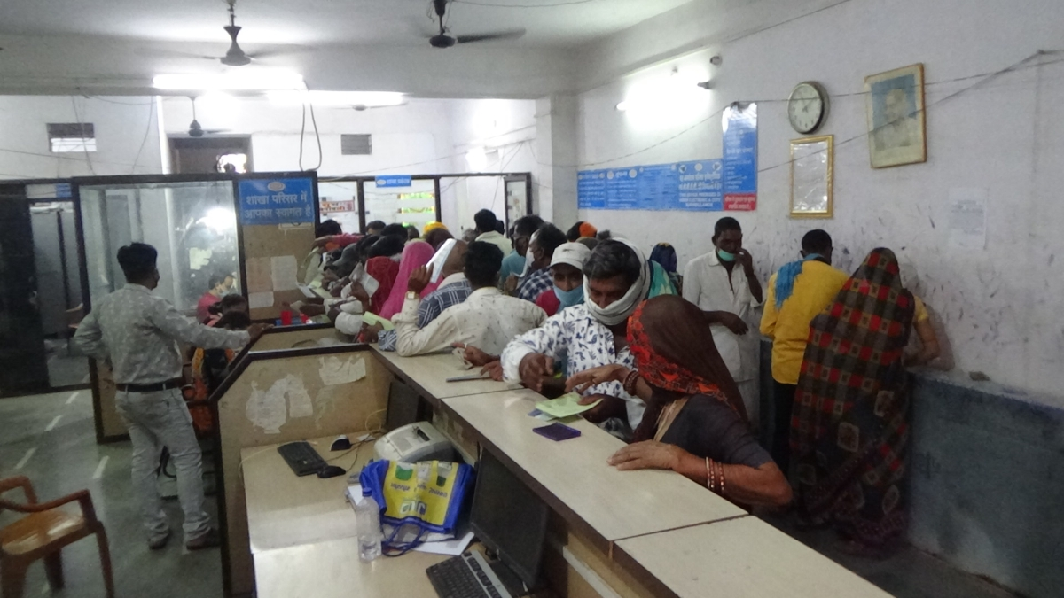 Villagers at bank branch in Nagda on Tuesday