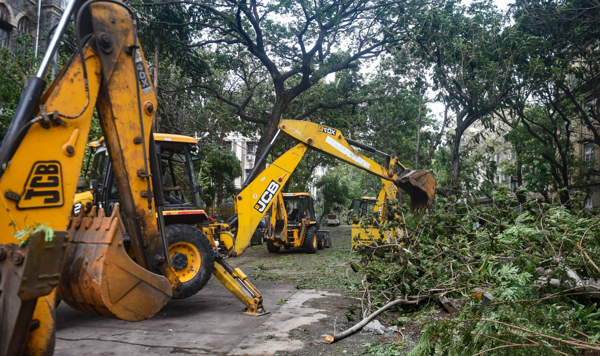 Broken trees branches due to cyclone Tauktae being cleared from a road in Mumbai, Tuesday,