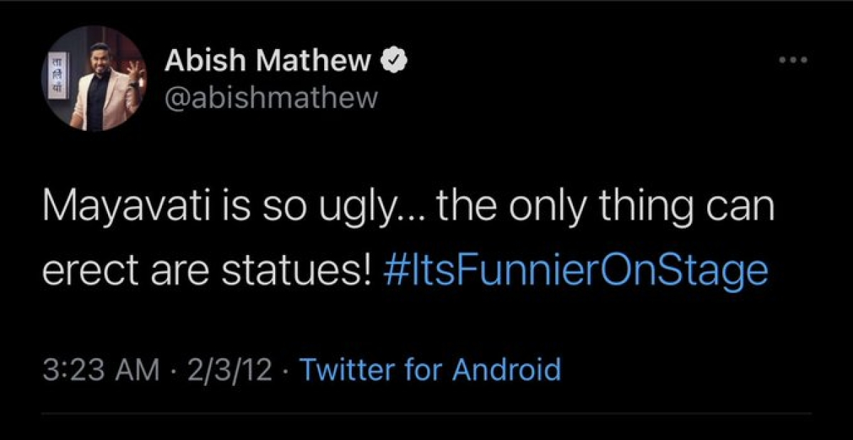 Why is 'arrest Abish Mathew' trending on Twitter? Comedian's 'casteist, sexist' tweet about Mayawati from 2012 resurfaces