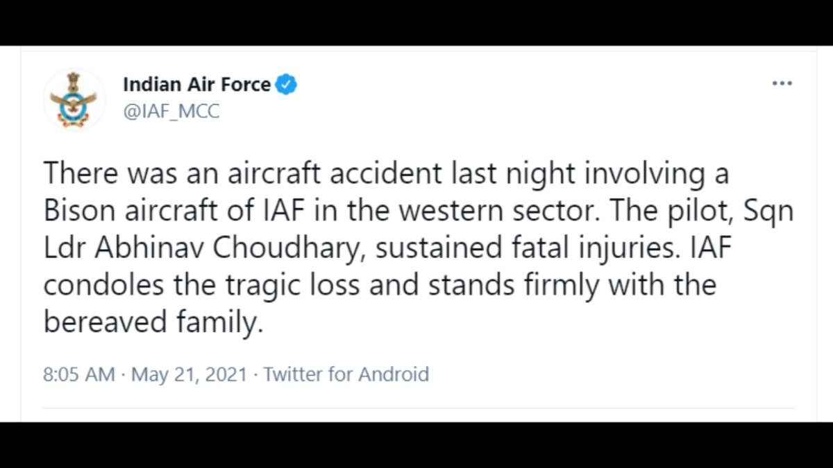 India mourns untimely death of Sqn Ldr Abhinav Choudhary who was killed in MiG-21 crash