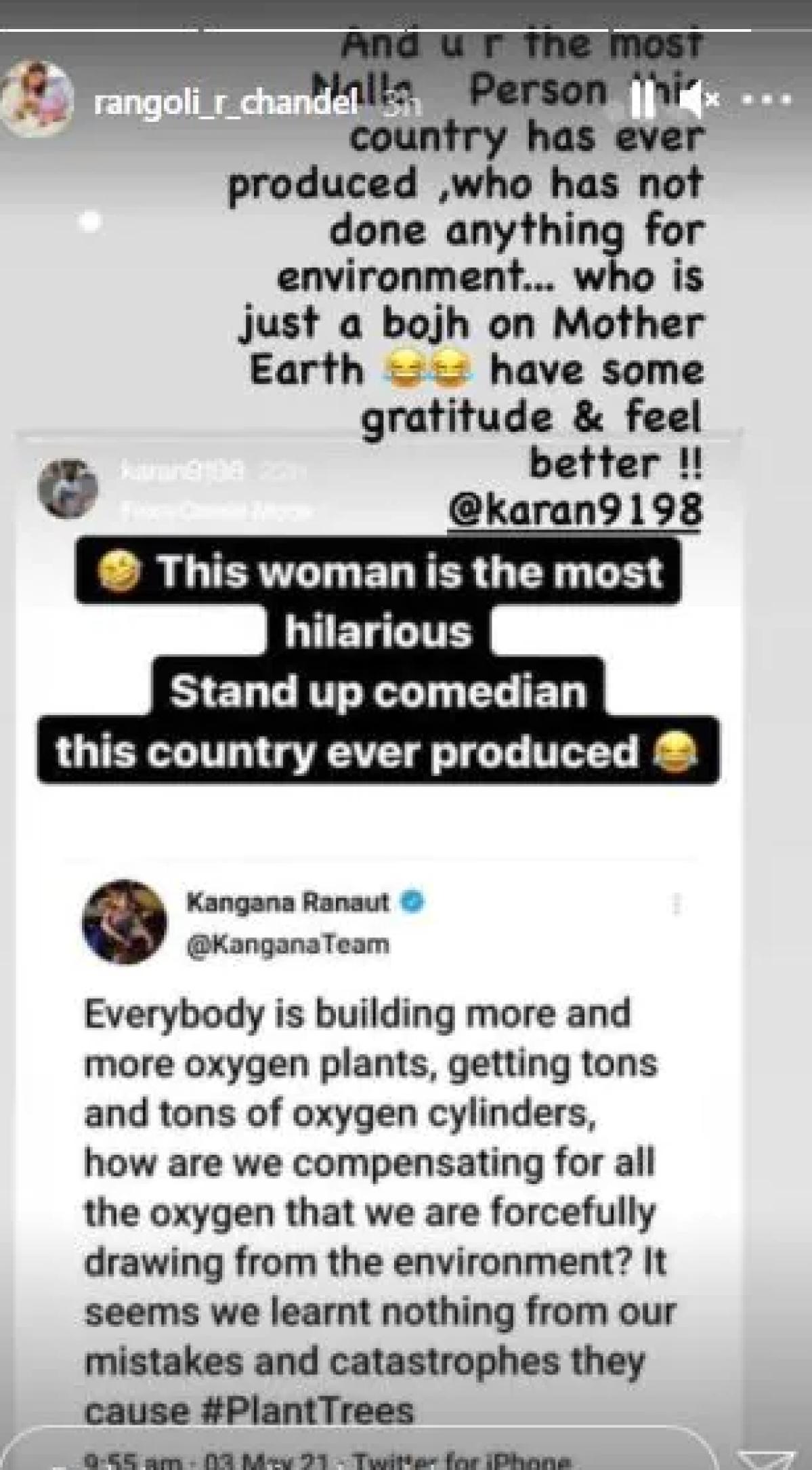 'Bojh on Mother Earth': Rangoli Chandel hits back at Karan Patel for mocking Kangana Ranaut