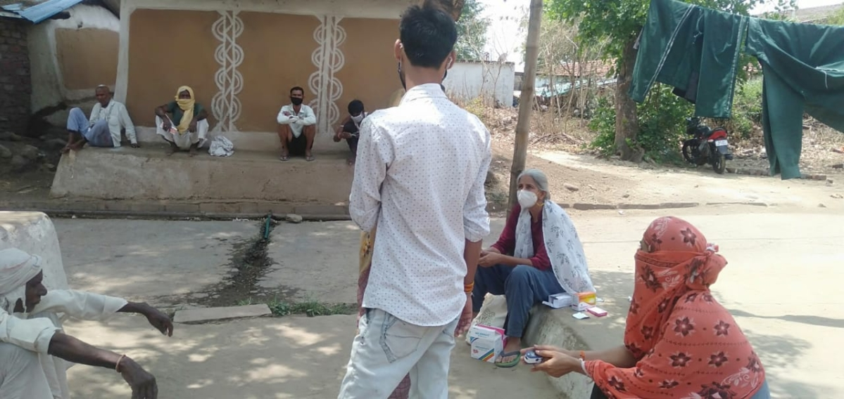 A team of NGO conducting survey at village near state capital