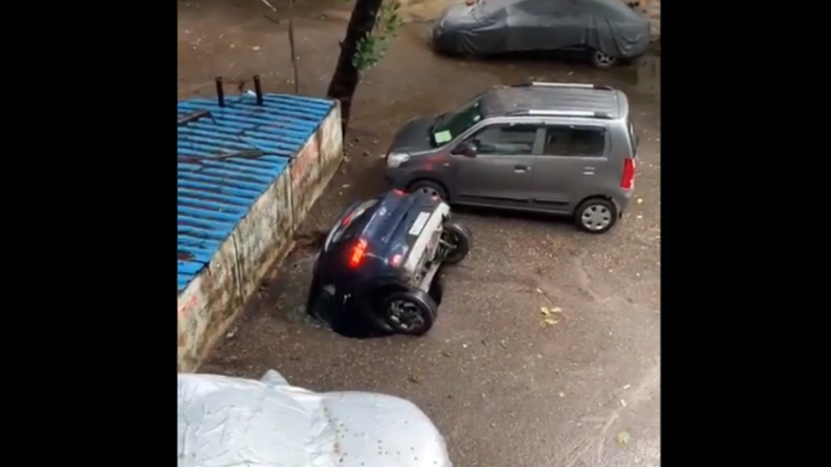 Watch: Video of car sinking into reclaimed well is the scariest thing you will see on Twitter today