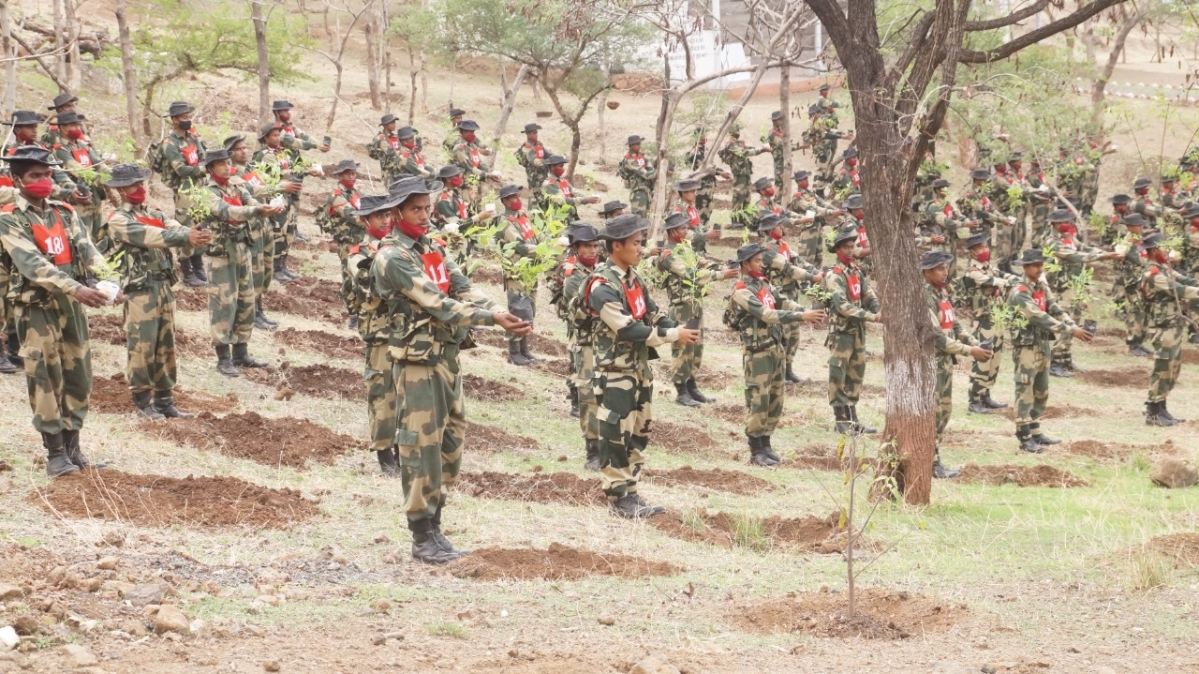 BSF personnel with saplings they  planted on World Environment Day in Indore on June 5