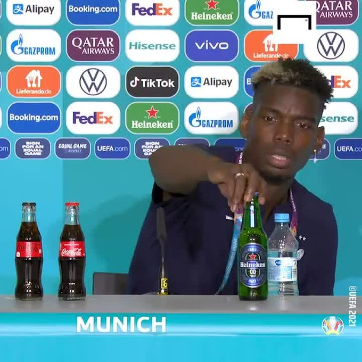 Watch: After Ronaldo's coke act, Paul Pogba removes beer bottle during Euro 2020 presser