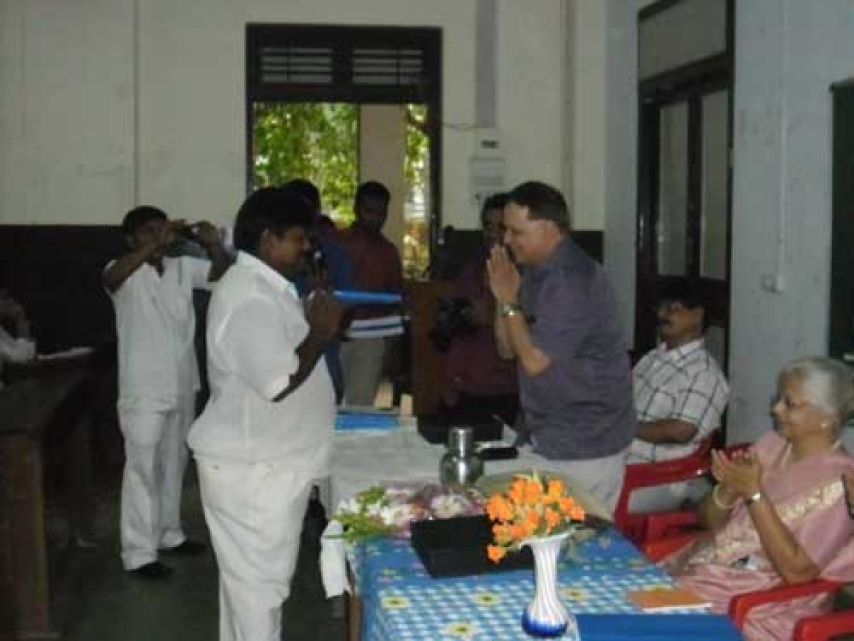 Hemant Takale, MLC, NCP greeting a new student along with Rupa Shah, former VC,SNDTUniversity