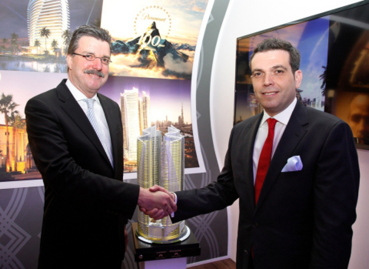 DAMAC's Ziad El Chaar with Thomas van Vliet, Chief Executive Officer from Paramount Hospitality after the announcement this morning at ITB in Berlin (Photo: Business Wire)