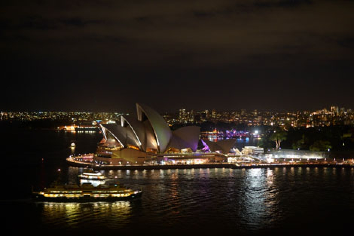 Sydney Opera House illuminated before Earth Hour.