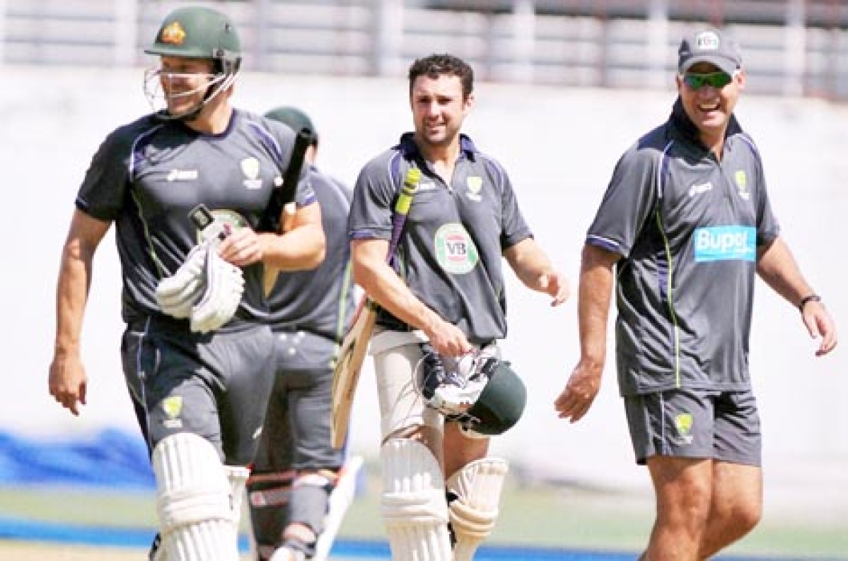 Australian cricketers during a practice session at Rajiv Gandhi International Cricket Stadium in Hyderabad on Wednesday.