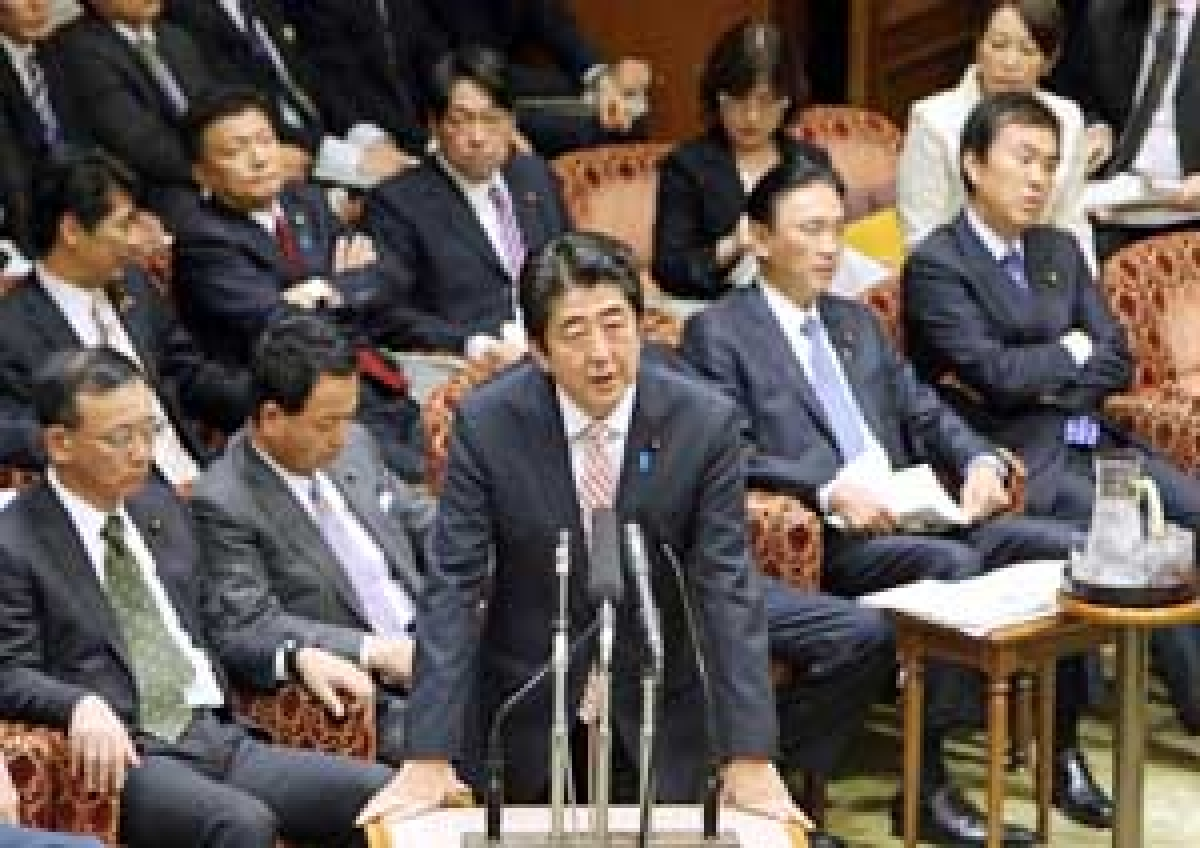 "China's declaration is ""profoundly dangerous"", says Japan's prime minister during the Upper House's audit committee session at the National Diet in Tokyo on Monday."