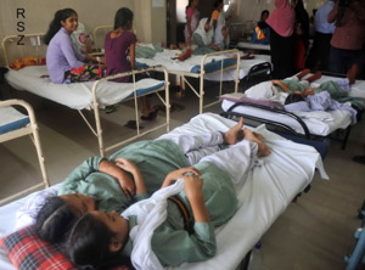 The affected students undergoing treatment at hospitals