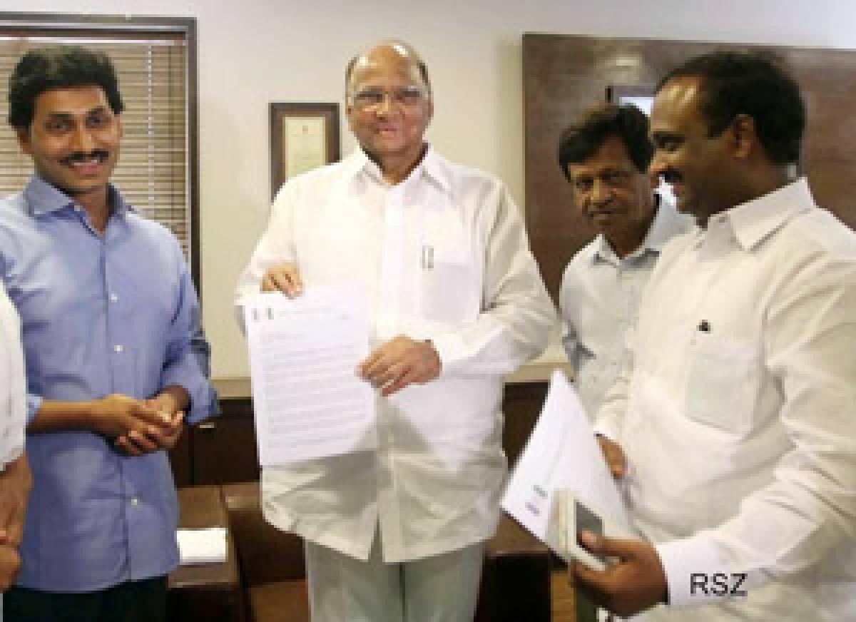 Jagan seeks Pawar support against bifurcation of AP