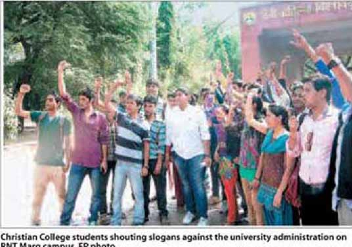 Christian College students protest against exam denial
