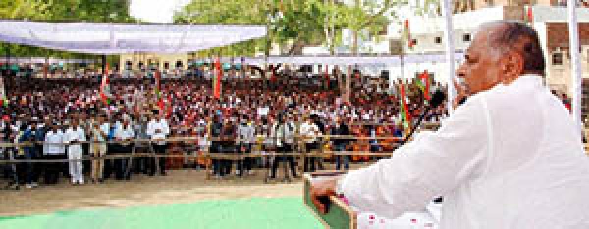 Samajwadi Party chief Mulayam Singh Yadav addresses an election campaign meeting in Mainpuri  on Thursday.