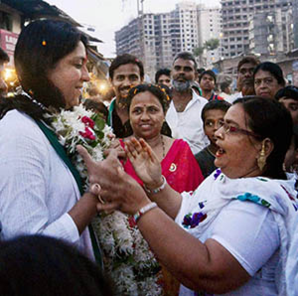 Congress candidate Priya Dutt at an election campaign in Mumbai on Thursday.