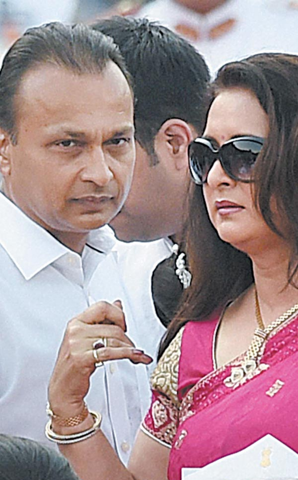 GLAM QUOTIENT: Industrialist Anil Ambani and actress Poonam Dhillon at the swearing-in ceremony.