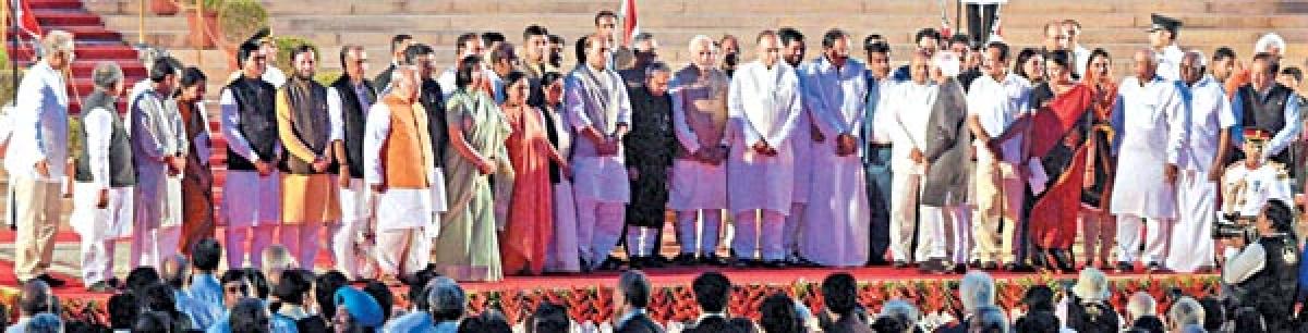 VIP LINE-UP: President Pranab Mukherjee, Vice President Hamid Ansari, Prime Minister Narendra Modi and the Council of Ministers.