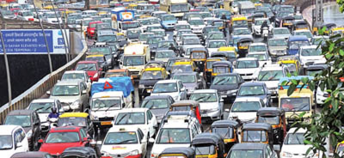 City in a jam, commuter in a pickle