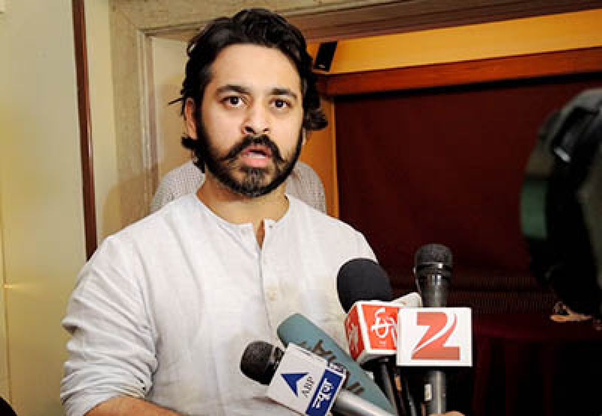 Nilesh Rane at a press conference at Bandra on Thursday