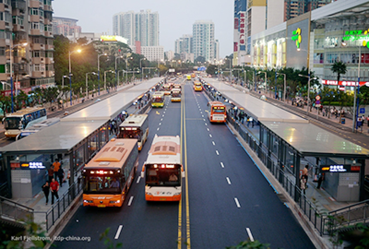 Inspired by China's BRT service (above), Gujarat has developed its bus service in cities like Ahmedabad. (File Photo)