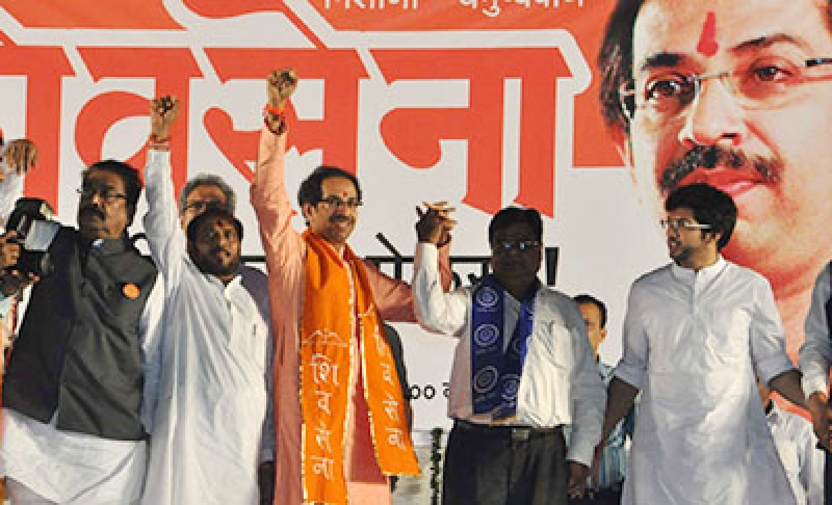 Gajanan Kirtikar, Ramdas Kadam, Uddhav Thackeray and Aditya Thackeray at Shiv Sena's rally at Borivali on Friday.