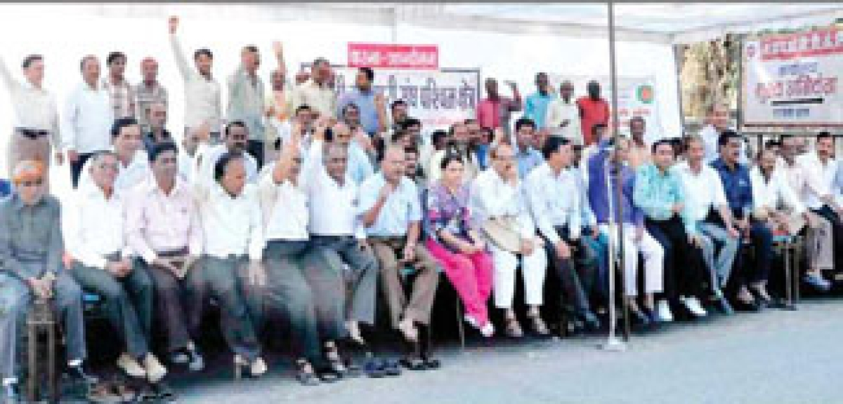 MPEB employees hold protest