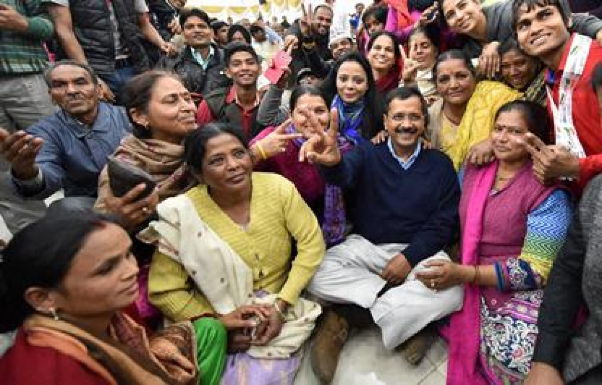 AAP leads with 66 seats, BJP stuck at 3