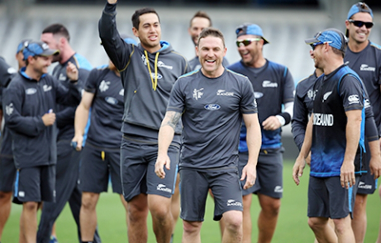New Zealand players train ahead of their World Cup Semi-final clash against South Africa today.