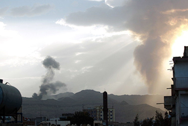 Smoke and flames rise allegedly from Shiite Huthi rebels camps following an airstrike by the Saudi-led alliance in the Yemeni capital Sanaa.