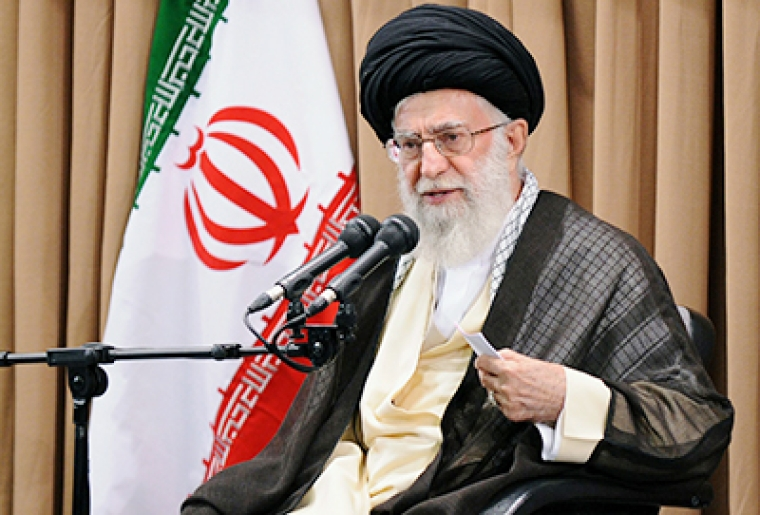 "A handout photo provided by the office of Iran's supreme leader, Ayatollah Ali Khamenei, shows him addressing Iran's top officials during a meeting  in Tehran in which he restated his country's red lines for a nuclear deal with world powers on June 23, 2015. Khamenei said that banking and other economic sanctions imposed by the United Nations (UN) and the United States must be lifted ""immediately"" if a nuclear deal is signed. AFP PHOTO/HO/IRANIAN SUPREME LEADER'S WEBSITE === EDITORS NOTE -- RESTRICTED TO EDITORIAL USE - MANDATORY CREDIT - ""AFP PHOTO/HO/IRANIAN SUPREME LEADER'S WEBSITE"" - NO MARKETING NO ADVERTISING CAMPAIGNS - DISTRIBUTED AS A SERVICE TO CLIENTS=="
