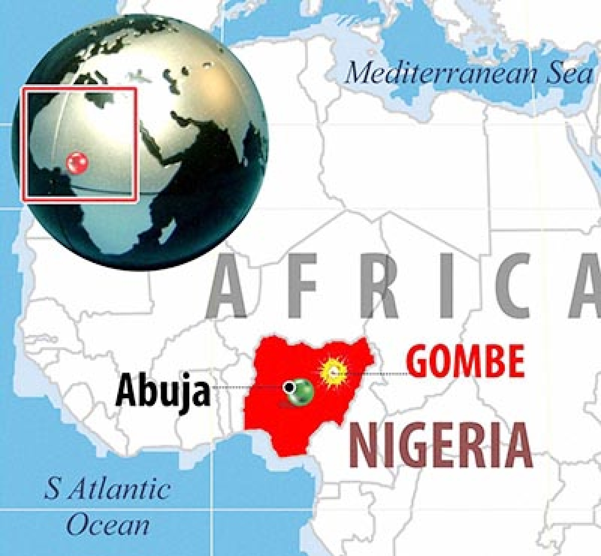 NEW DELHI :  AT LEAST 49 PEOPLE KILLED AND DOZENS INJURED WHEN TWIN BLASTS STRUCK A MARKET IN NORTHEAST NIGERIAN CITY OF GOMBE .  PTI GRAPHICS(PTI7_17_2015_000076B)